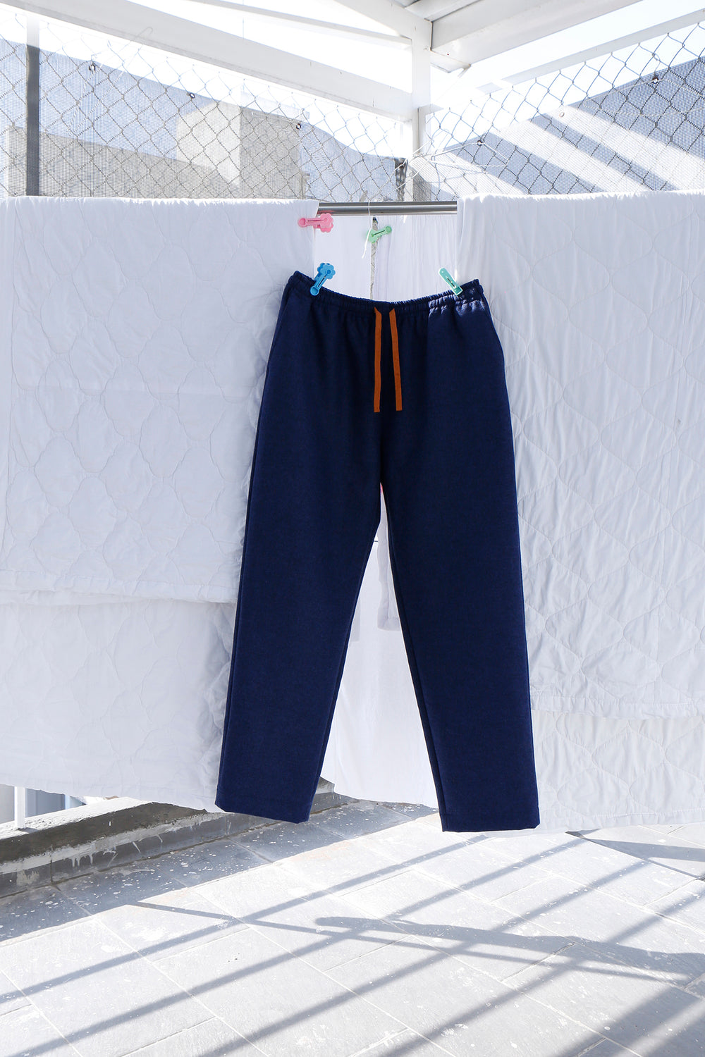 Elastic Waist Pant in Blue Wool