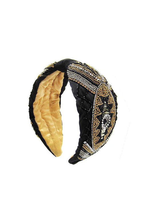 Black and Gold Beaded Headband