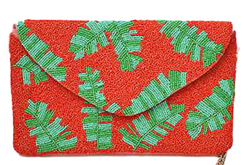 Coral Tropical Leaf Beaded Clutch