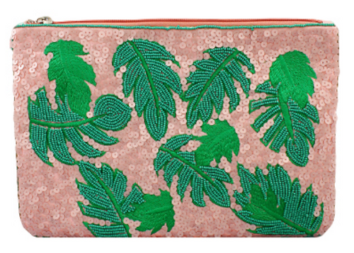 Blush Sequin and Beaded Tropical Leaf Clutch