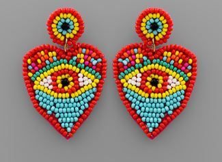 Beaded Evil Eye Heart Earring