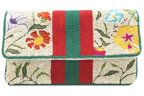 Floral and Stripe Beaded Purse