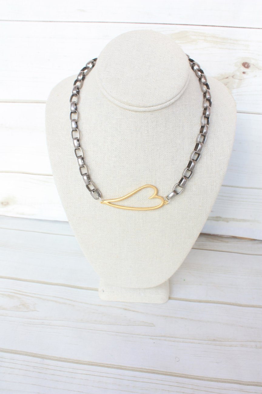 Open Heart on Oval Rolo Necklace