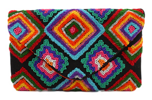 Bright Diamond Pattern Beaded Clutch