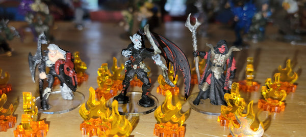 LITKO Clear Bases and Flame Markers for Miniature Wargaming  (image courtesy Gregg H.)