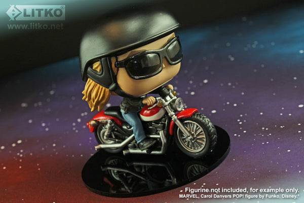 Carol Danvers on a Motorcycle by Funko POP! mounted on a LITKO RPG Base