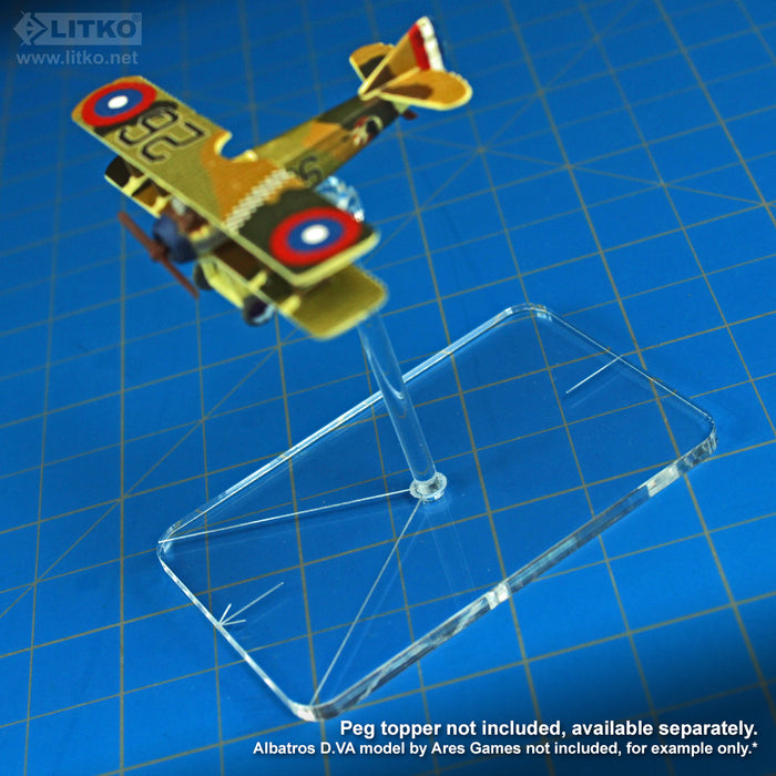 LITKO Flight Stands, Rectangular 44x67mm (Rounded Corners), WoG etching, 3mm peg hole and 2-inch standard pegs, Clear (10) - LITKO Game Accessories