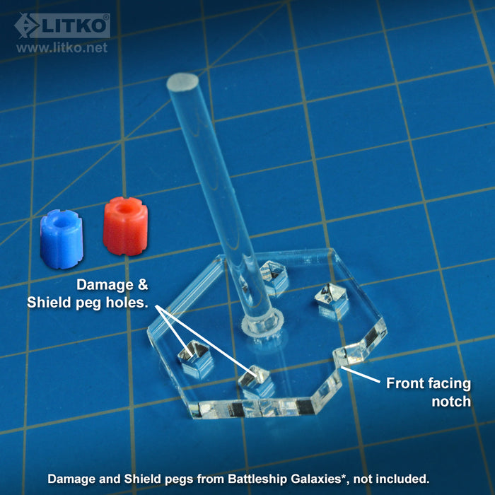 LITKO Small Ship Flight Stands Compatible with Battleship Galaxies, 1.5-inch Peg, Clear (10) - LITKO Game Accessories