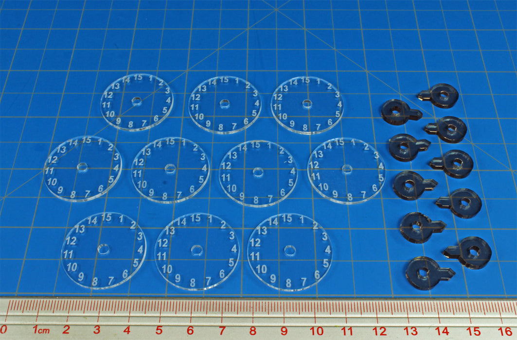 LITKO Standard Flight Stand Dials #1-15 with Pointers (10) - LITKO Game Accessories