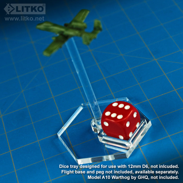 LITKO Flight Stand Dice Tray for 12mm D6, Clear (5) - LITKO Game Accessories