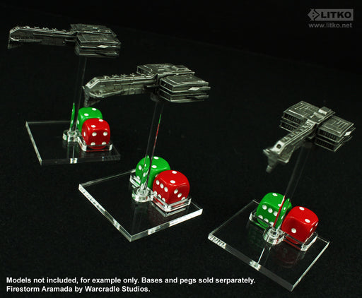 LITKO Flight Stand Dice Tray for Dual 12mm D6, Clear (5) - LITKO Game Accessories