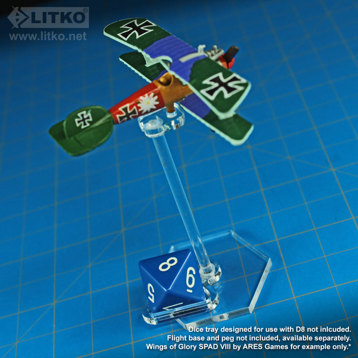 LITKO Flight Stand Dice Tray for D8 Dice, Clear (5) - LITKO Game Accessories