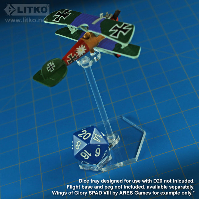 LITKO Flight Stand Dice Tray for D20 Dice, Clear (5) - LITKO Game Accessories