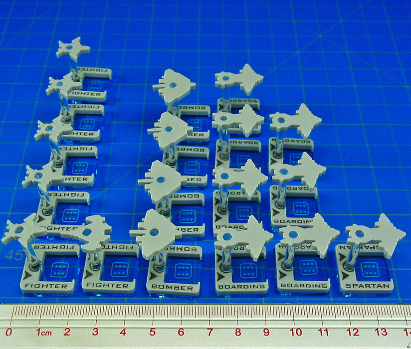 Fleet Wars, Human Squadron Dice Dock Stands, White (18) - LITKO Game Accessories