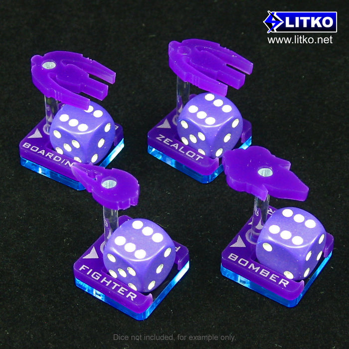 Fleet Wars, Covenant Squadron Dice Dock Stands, Purple (18) - LITKO Game Accessories