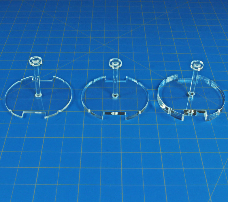 50mm Circular Flight Stand Kit with 1.25 peg Compatible with SW: Legion, 3mm Clear (5) - LITKO Game Accessories