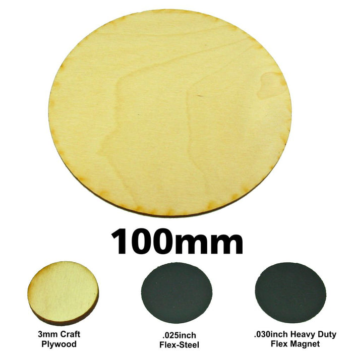 Miniature Base, Circular, 100mm, 3mm Plywood (1) - LITKO Game Accessories