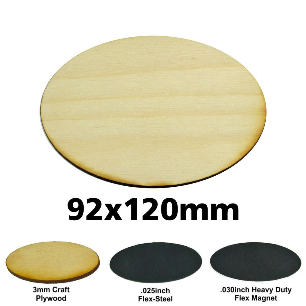 Miniature Base, Oval, 92x120mm, 3mm Plywood (1) - LITKO Game Accessories