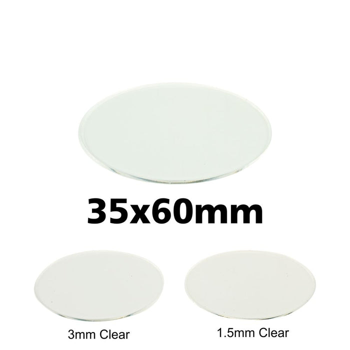 Miniature Base, Oval, 35x60mm, 1.5mm Clear (5) - LITKO Game Accessories
