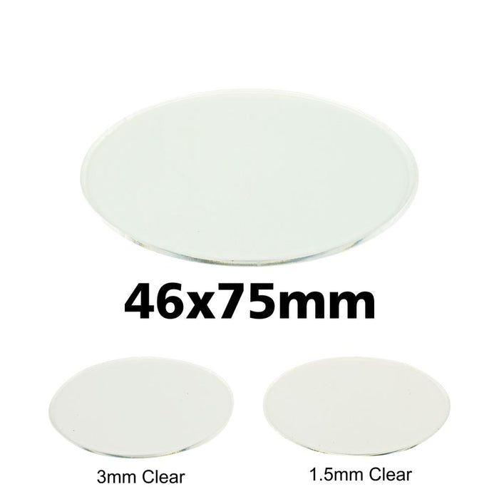 Miniature Base, Oval, 46x75mm, 1.5mm Clear (5) - LITKO Game Accessories