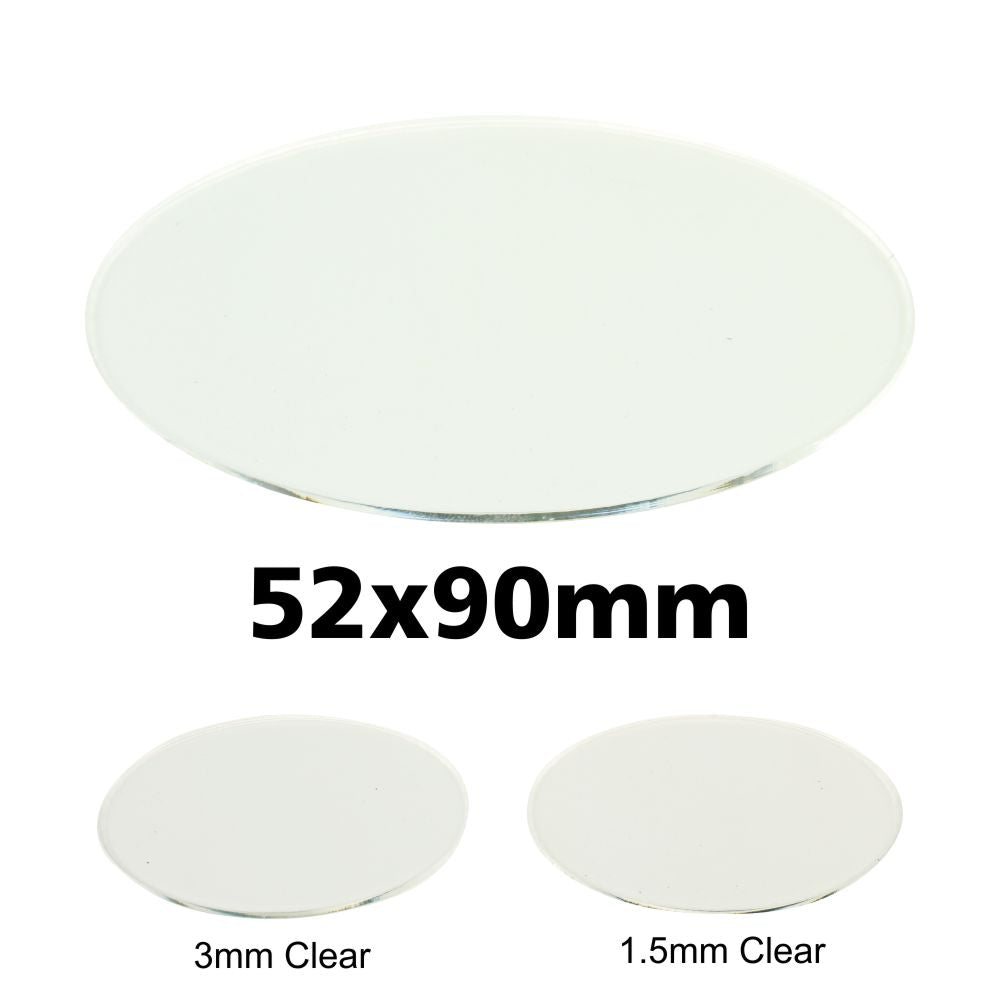 Miniature Base, Oval, 52x90mm, 3mm Clear (3) - LITKO Game Accessories