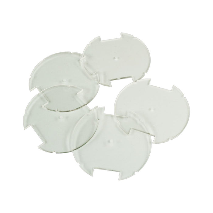 50mm Circular Notched Bases Compatible with SW: Legion, 1.5mm Clear (5) - LITKO Game Accessories