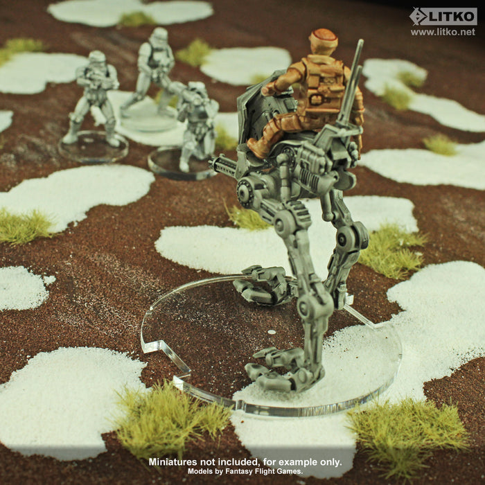 70mm Circular Notched Bases Compatible with SW: Legion, 1.5mm Clear (2) - LITKO Game Accessories