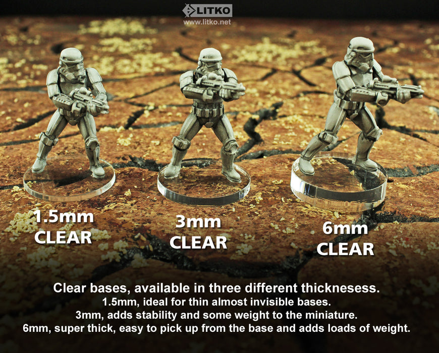 70mm Circular Notched Bases Compatible with SW: Legion, 6mm Clear (2) - LITKO Game Accessories