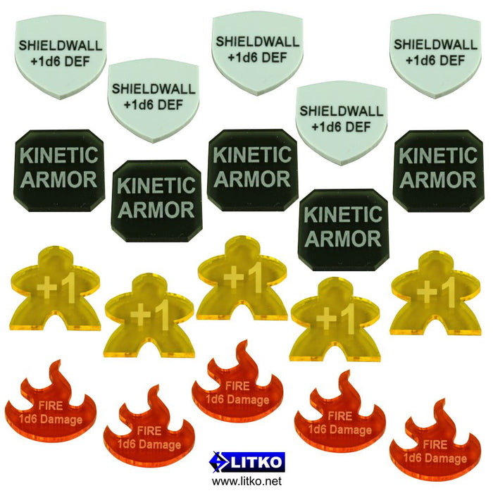 Large Shapes - Personalized Game Tokens (5) - LITKO Game Accessories