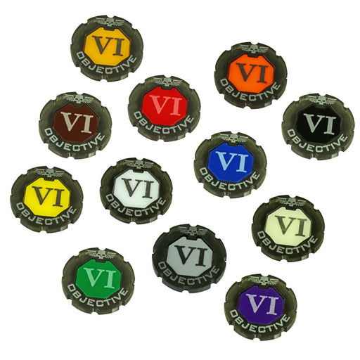 LITKO Objective Token Numbered 1-6, Compatible with WHv8, Custom Color Tokens (6) - LITKO Game Accessories