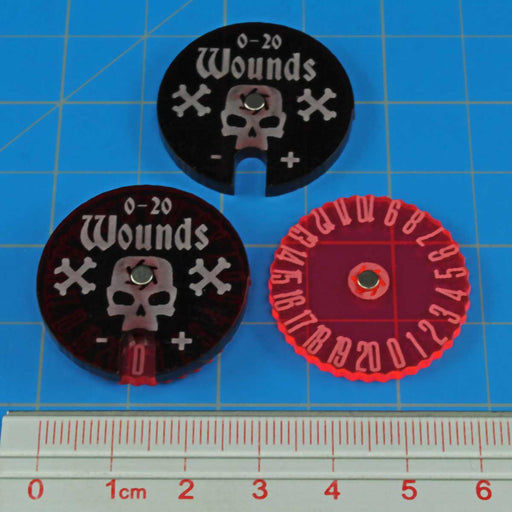 Wound Dials, #0-20, Fluorescent Pink & Translucent Red (2) - LITKO Game Accessories