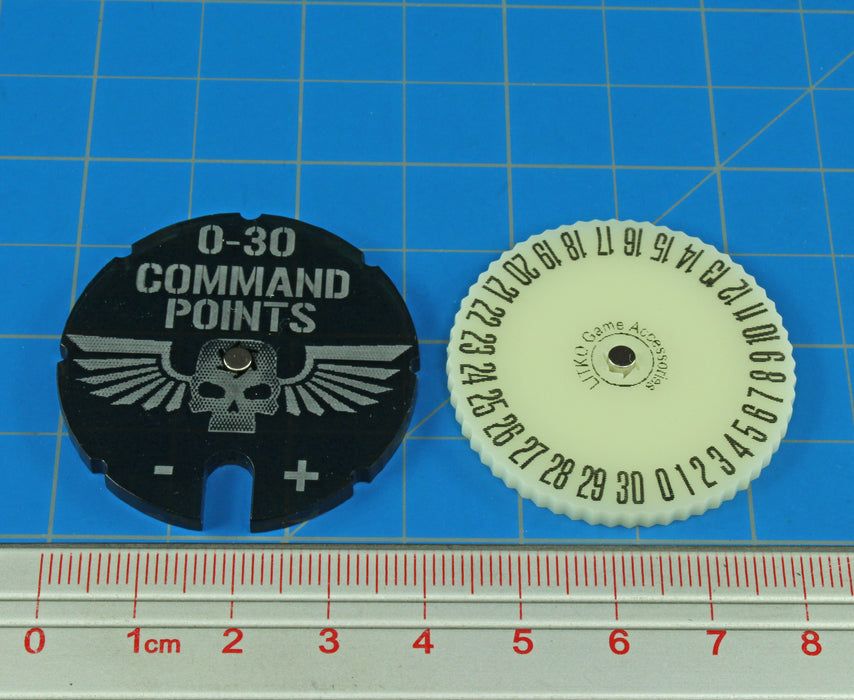 WHv8: Command Points Dial, 0-30, Translucent Grey & Ivory - LITKO Game Accessories