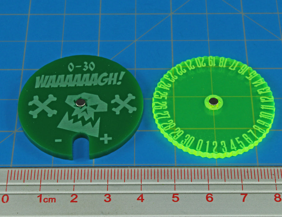 WHv8: Space Orc Leadership Dial, #0-30, Green (1) - LITKO Game Accessories
