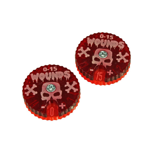 Wound Dials, #0-15, Fluorescent Pink & Translucent Red (2) - LITKO Game Accessories