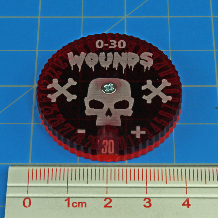 Wound Dials, #0-30, Fluorescent Pink & Translucent Red - LITKO Game Accessories