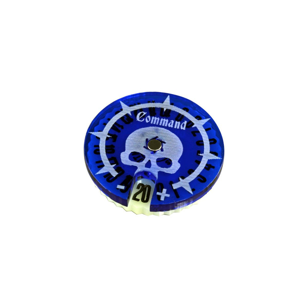 LITKO Command Points Dial Numbered #0-20 Compatible with AoS: 2nd Edition, Translucent Blue & Ivory - LITKO Game Accessories