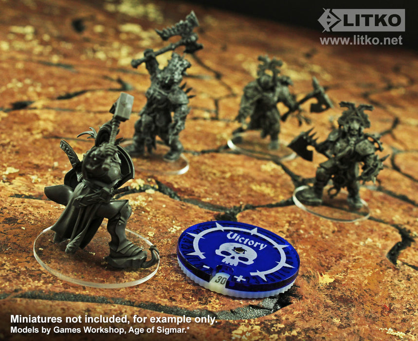 LITKO Victory Points Dial Numbered #0-30 Compatible with AoS: 2nd Edition, Translucent Blue & Ivory - LITKO Game Accessories
