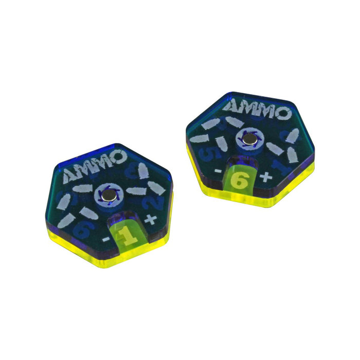Gaslands Miniatures Game Ammo Dials, Translucent Blue & Fluorescent Yellow (2) - LITKO Game Accessories