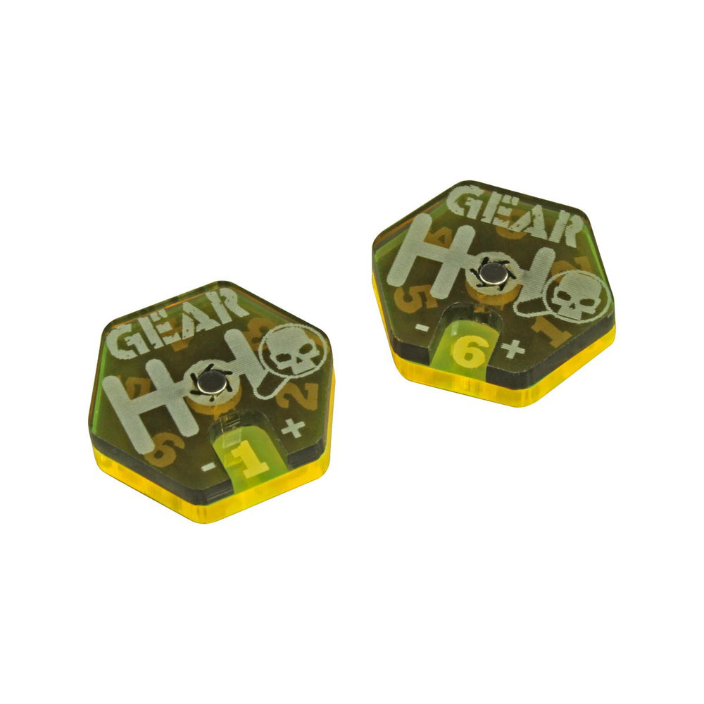 Gaslands Miniatures Game Gear Dials, Translucent Grey & Fluorescent Yellow (2) - LITKO Game Accessories