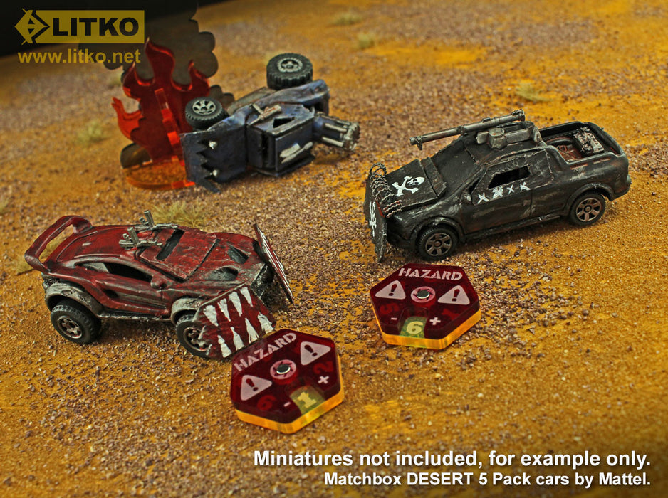 Gaslands Miniatures Game Hazard Dials, Translucent Red & Fluorescent Yellow (2) - LITKO Game Accessories