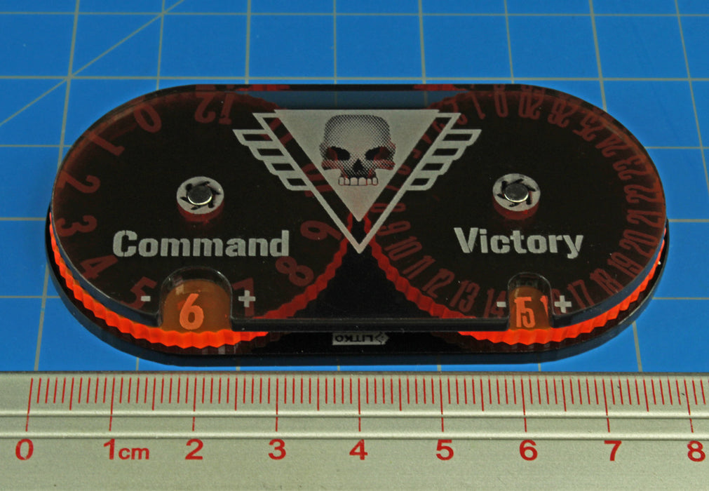 LITKO Command and Victory Point Tracker Compatible with WH: KT, Fluorescent Orange & Translucent Grey - LITKO Game Accessories