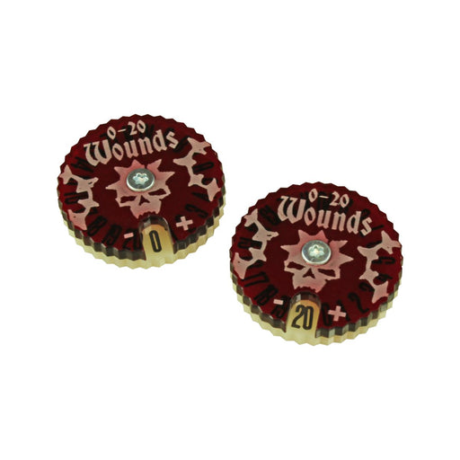 LITKO Wound Dials Numbered 0-20 Compatible with War Cry, Translucent Red & Ivory (2) - LITKO Game Accessories