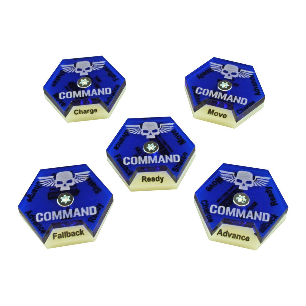 LITKO Command Dials compatible with WH:KT, Ivory & Translucent Blue (5) - LITKO Game Accessories