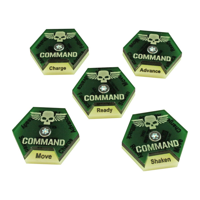 LITKO Command Dials compatible with WH:KT, Ivory & Translucent Green (5) - LITKO Game Accessories