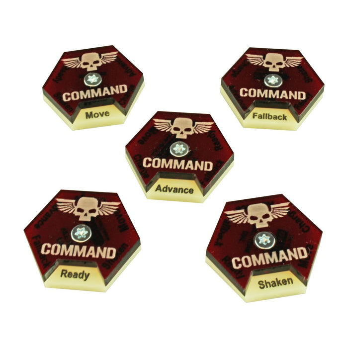 LITKO Command Dials compatible with WH:KT, Ivory & Translucent Red (5) - LITKO Game Accessories