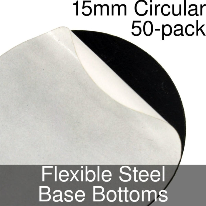 Miniature Base Bottoms, Circular, 15mm, Flexible Steel (50) - LITKO Game Accessories