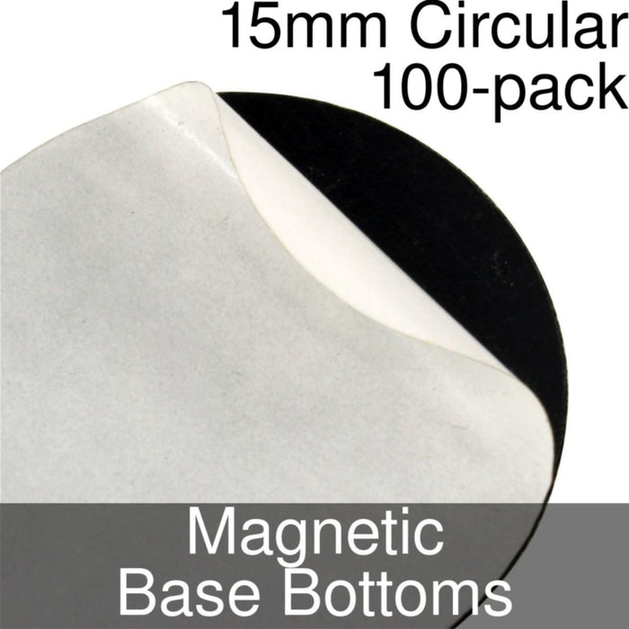 Miniature Base Bottoms, Circular, 15mm, Magnet (100) - LITKO Game Accessories
