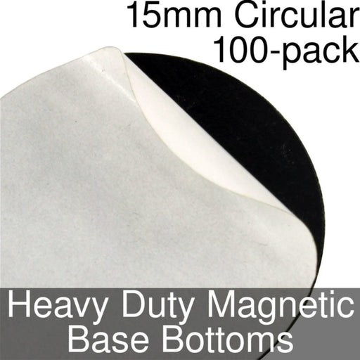 Miniature Base Bottoms, Circular, 15mm, Heavy Duty Magnet (100) - LITKO Game Accessories