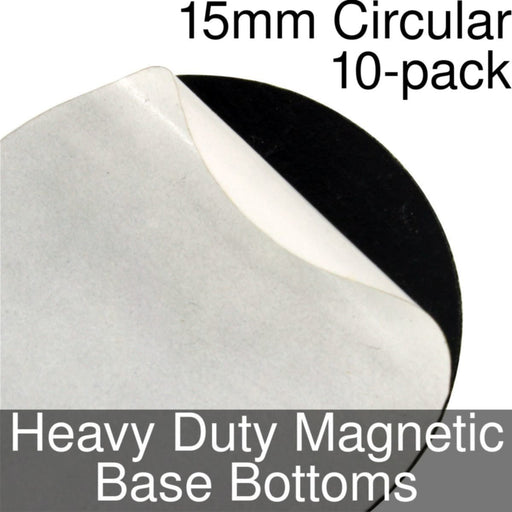 Miniature Base Bottoms, Circular, 15mm, Heavy Duty Magnet (10) - LITKO Game Accessories