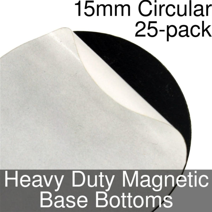 Miniature Base Bottoms, Circular, 15mm, Heavy Duty Magnet (25) - LITKO Game Accessories